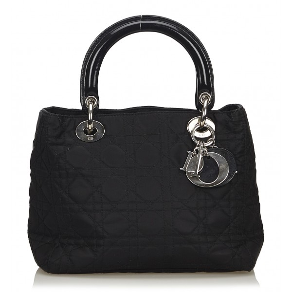 Dior Vintage - Nylon 2 Way Lady Dior Bag - Black - Leather and Canvas Handbag - Luxury High Quality