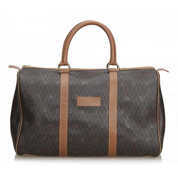 Dior Vintage - Honeycomb Leather Travel Bag - Black Brown - Leather Handbag - Luxury High Quality