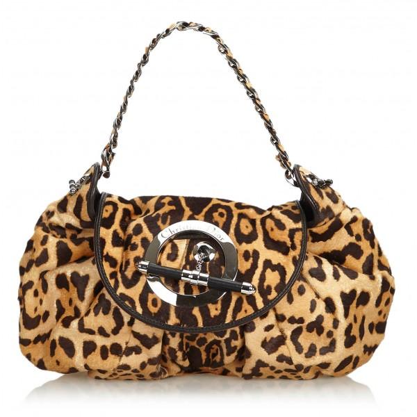 Dior Vintage - Leopard Print Pony Hair Shoulder Bag - Marrone Beige - Borsa in Pelle - Alta Qualità Luxury