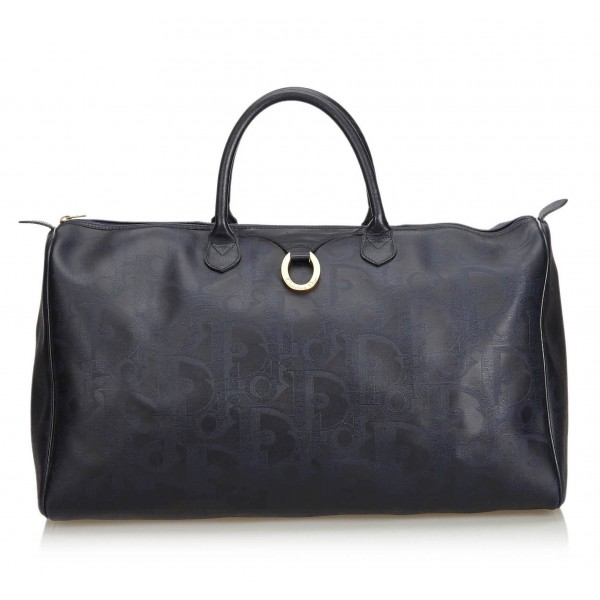 Dior Vintage - Big Oblique Duffle Bag - Black - Leather Handbag - Luxury High Quality