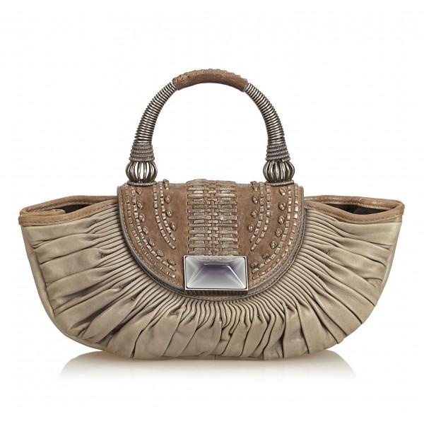 Dior Vintage - Leather Handbag Bag - Grigia - Borsa in Pelle - Alta Qualità Luxury