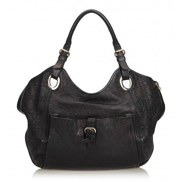 Dior Vintage - Leather Hobo Bag - Nero - Borsa in Pelle - Alta Qualità Luxury