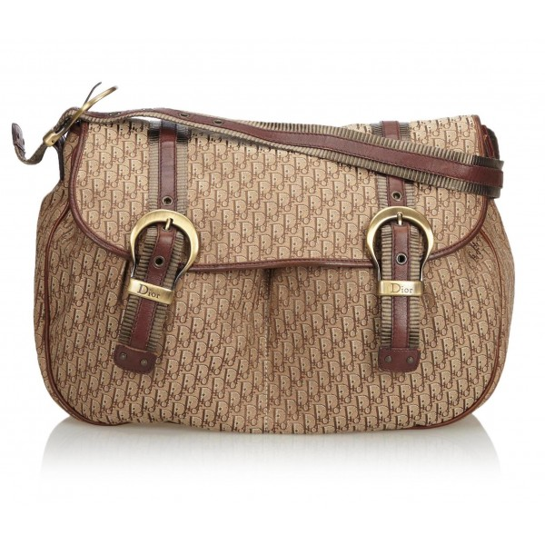 Dior Vintage - Oblique Shoulder Bag - Marrone Beige - Borsa in Pelle - Alta Qualità Luxury