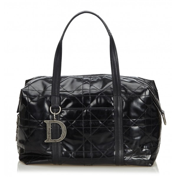 Dior Vintage - Cannage Handbag Bag - Black - Leather Handbag - Luxury High Quality