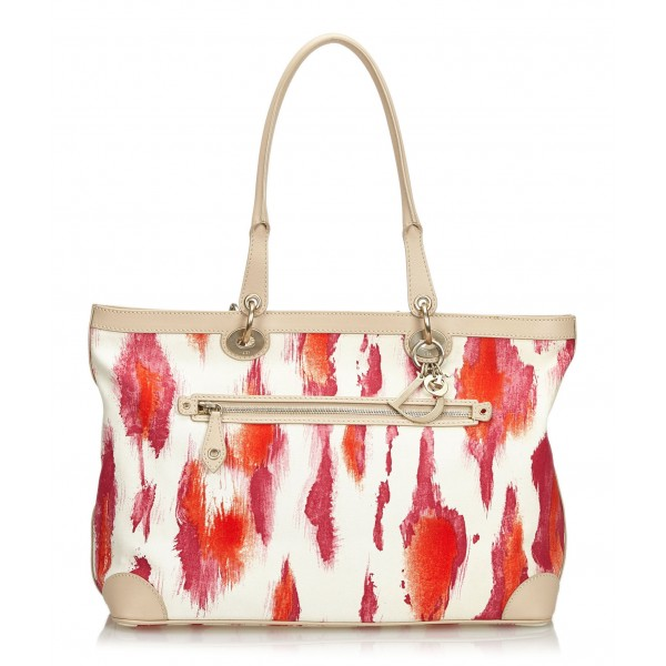 Dior Vintage - Printed Canvas Shoulder Bag - Pink White Ivory - Leather and Canvas Handbag - Luxury High Quality