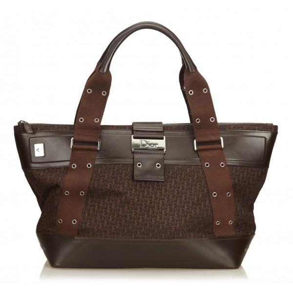 Dior Vintage - Oblique Shoulder Bag - Marrone - Borsa in Pelle e Tessuto - Alta Qualità Luxury