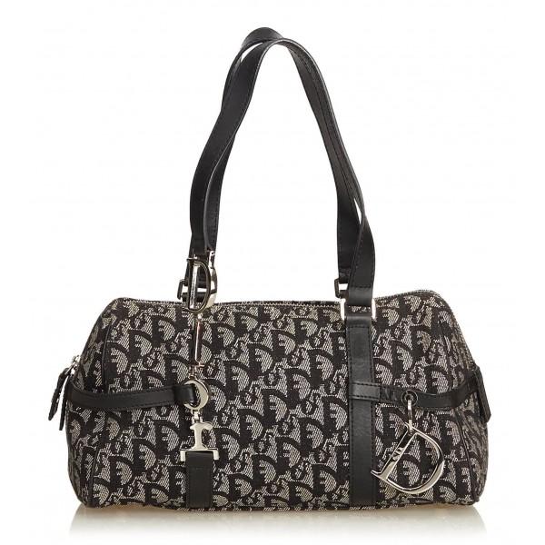 Dior Vintage - Oblique Canvas Boston Bag - Nero Grigio - Borsa in Pelle e Tessuto - Alta Qualità Luxury