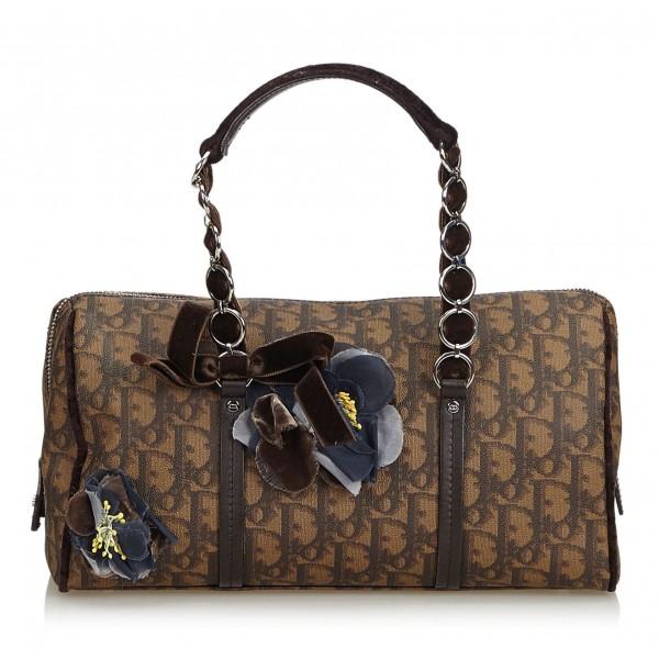 Dior Vintage - Oblique Romantique Handbag Bag - Marrone - Borsa in Pelle - Alta Qualità Luxury