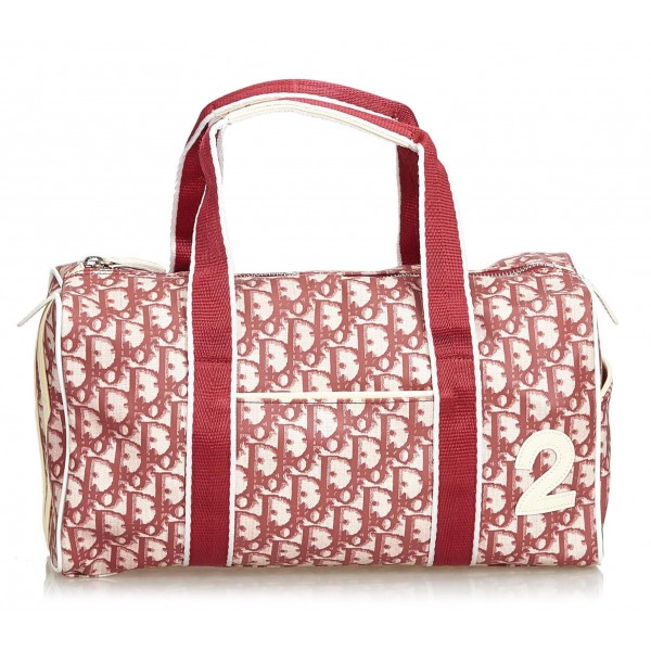 Dior Vintage - Oblique Trotter Boston Bag - Rosso Bianco - Borsa in Pelle - Alta Qualità Luxury