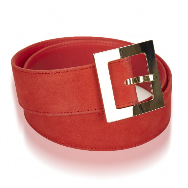 Dior Vintage - Nubuck Leather Belt - Rosso - Cintura in Pelle Nabuk - Alta Qualità Luxury