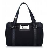 Dior Vintage - Oblique Jacquard Boston Bag - Black - Leather and Canvas Handbag - Luxury High Quality