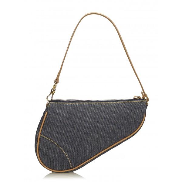 Dior Vintage - Denim Mini Saddle Bag - Blu - Borsa in Pelle e Tessuto - Alta Qualità Luxury