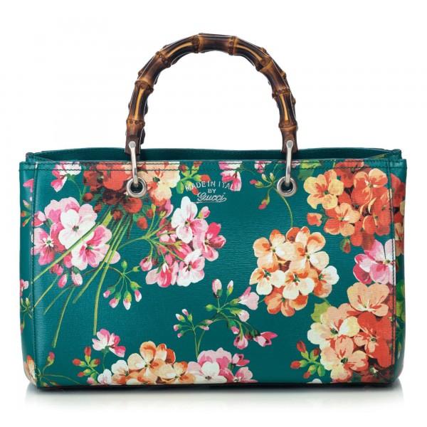 Gucci Vintage - Blooms Bamboo Shopper Bag - Verde - Borsa in Pelle - Alta Qualità Luxury