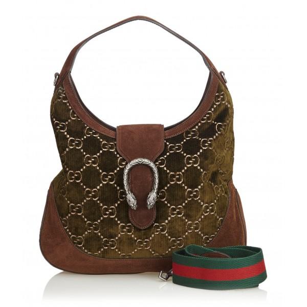 Gucci Vintage - GG Dionysus Velvet Satchel Bag - Verde - Borsa in Pelle - Alta Qualità Luxury