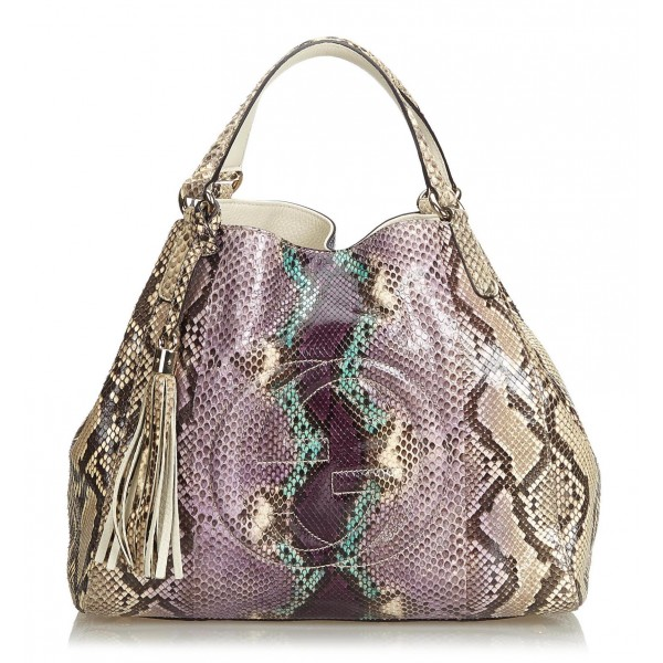 Gucci Vintage - Medium Python Soho Bag - Marrone Beige Multi - Borsa in Pelle di Pitone - Alta Qualità Luxury