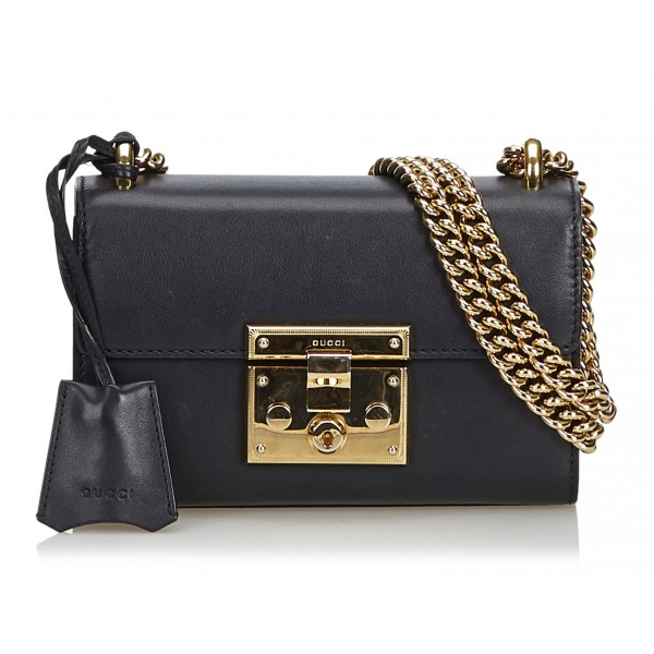 Gucci Vintage - Leather Small Padlock Shoulder Bag - Black - Leather Handbag - Luxury High Quality