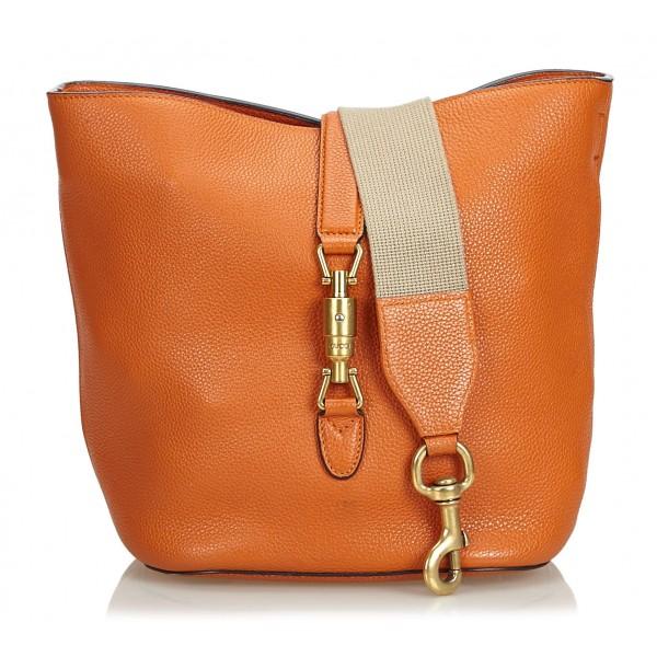 Gucci Vintage - Leather New Jackie Bucket Bag - Arancione - Borsa in Pelle - Alta Qualità Luxury