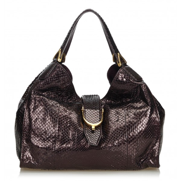 Gucci Vintage - Python Soft Stirrup Shoulder Bag - Marrone - Borsa in Pelle di Pitone - Alta Qualità Luxury