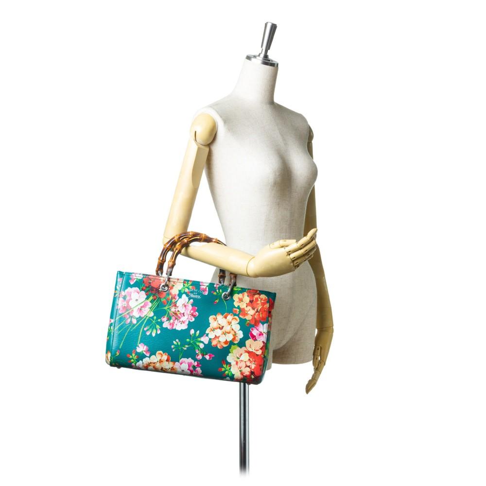 4d5f1b744ae ... Gucci Vintage - Blooms Bamboo Shopper Bag - Green - Leather Handbag - Luxury  High Quality ...