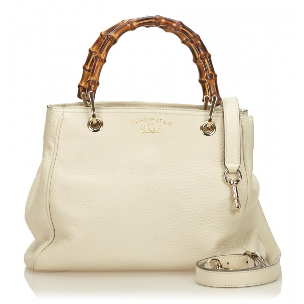 Gucci Vintage - Mini Bamboo Leather Shopper Bag - White Ivory - Leather Handbag - Luxury High Quality