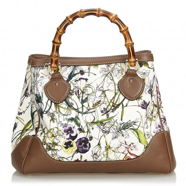Gucci Vintage - Bamboo Canvas Flora Diana Satchel Bag - Bianco - Borsa in Pelle - Alta Qualità Luxury