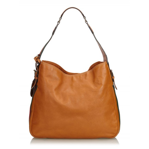 Gucci Vintage - Web Leather Heritage Hobo Bag - Marrone - Borsa in Pelle - Alta Qualità Luxury