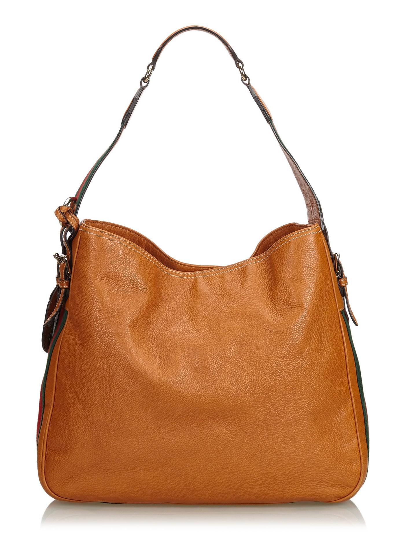 32090726591 Gucci Vintage - Web Leather Heritage Hobo Bag - Brown - Leather Handbag -  Luxury High Quality - Avvenice