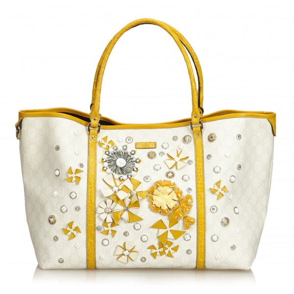 Gucci Vintage - Embellished Guccissima Tote Bag - White Ivory - Leather Handbag - Luxury High Quality