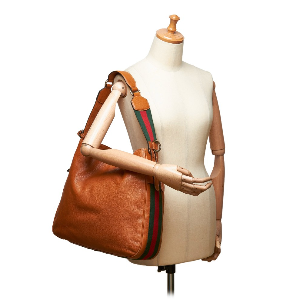 fb3e647604a ... Gucci Vintage - Web Leather Heritage Hobo Bag - Brown - Leather Handbag  - Luxury High ...