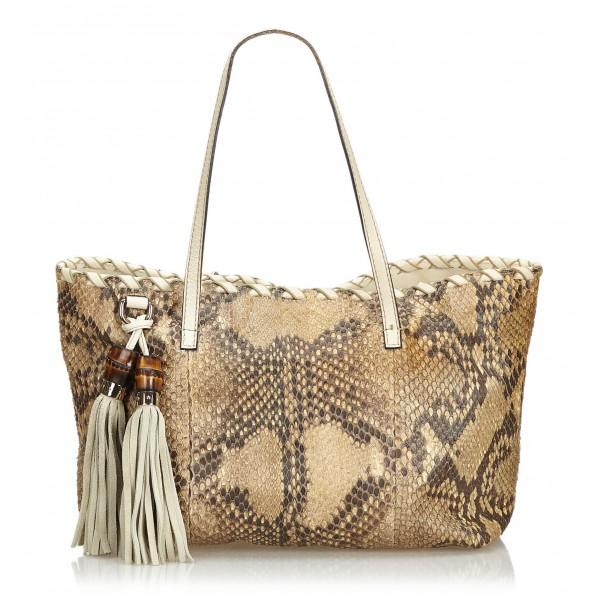 Gucci Vintage - Python Tote Bag - Marrone - Borsa in Pelle di Pitone - Alta Qualità Luxury