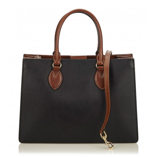 Gucci Vintage - Leather Linea a Satchel Bag - Nero Marrone - Borsa in Pelle - Alta Qualità Luxury