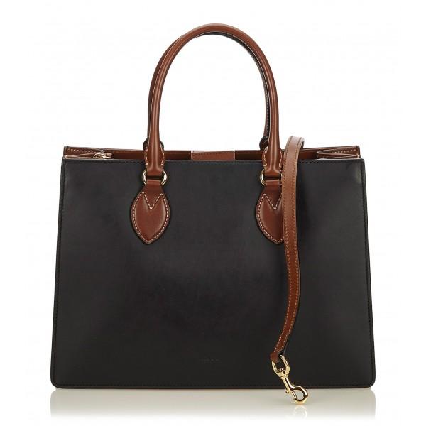 7db4c5e3802 Gucci Vintage - Leather Linea a Satchel Bag - Nero Marrone - Borsa in Pelle  -
