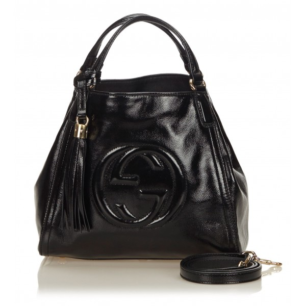 0fc5ad9197f3 Gucci Vintage - Patent Soho Top Handle Bag - Black - Leather Handbag - Luxury  High