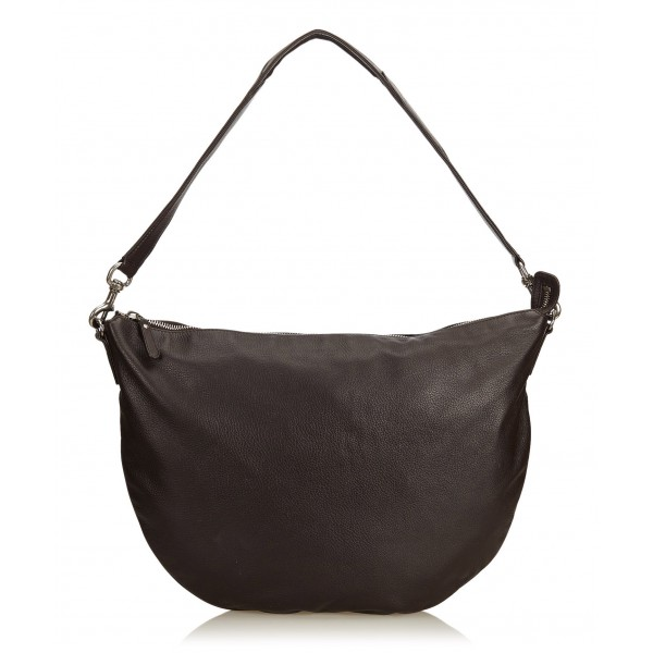 Gucci Vintage - Leather Half Moon Hobo Bag - Nero - Borsa in Pelle - Alta Qualità Luxury