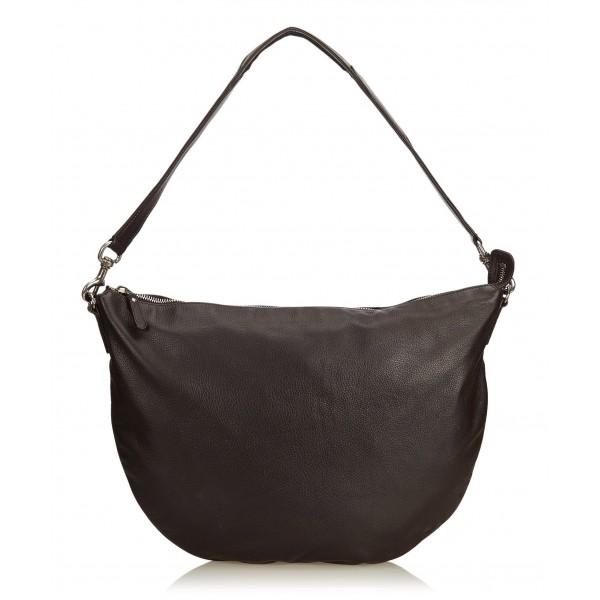 Gucci Vintage - Leather Half Moon Hobo Bag - Nero - Borsa in Pelle - Alta Qualità Luxury