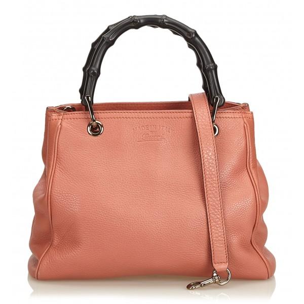 Gucci Vintage - Mini Bamboo Leather Shopper Bag - Rosa - Borsa in Pelle - Alta Qualità Luxury