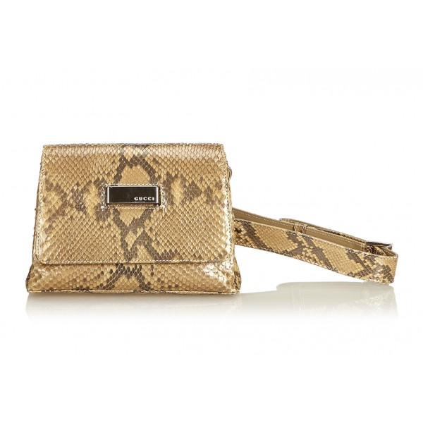 Gucci Vintage - Python Leather Belt Bag - Marrone - Borsa in Pelle di Pitone - Alta Qualità Luxury