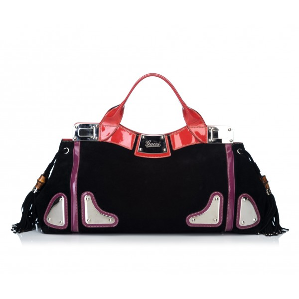 Gucci Vintage - Suede Race Handbag Bag - Nero - Borsa in Pelle - Alta Qualità Luxury