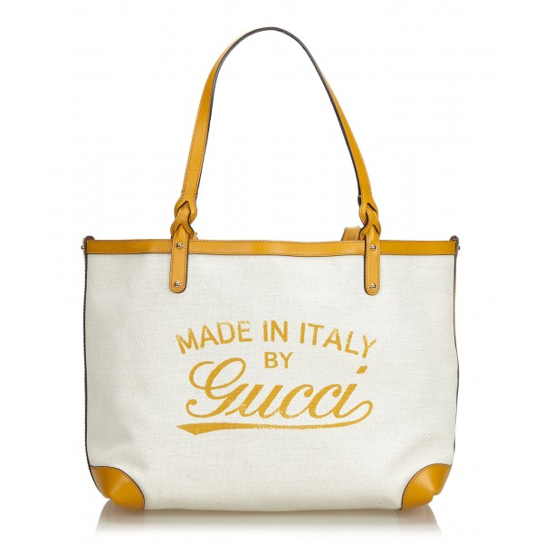 Gucci Vintage - Canvas Craft Tote Bag - Bianco - Borsa in Pelle - Alta Qualità Luxury