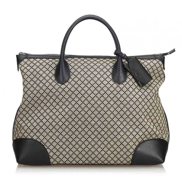 Gucci Vintage - Diamante Jacquard Travel Bag - Nero Marrone - Borsa in Pelle - Alta Qualità Luxury