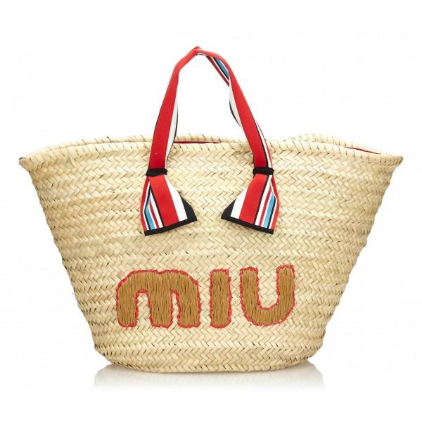 Miu Miu Vintage - Woven Strap Tote Bag - Marrone Beige - Borsa in Paglia - Alta Qualità Luxury