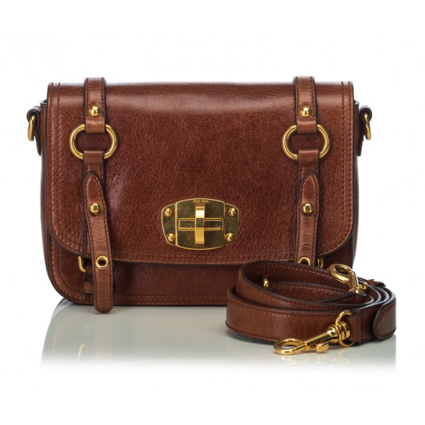 Miu Miu Vintage - Leather Crossbody Bag - Marrone - Borsa in Pelle - Alta Qualità Luxury