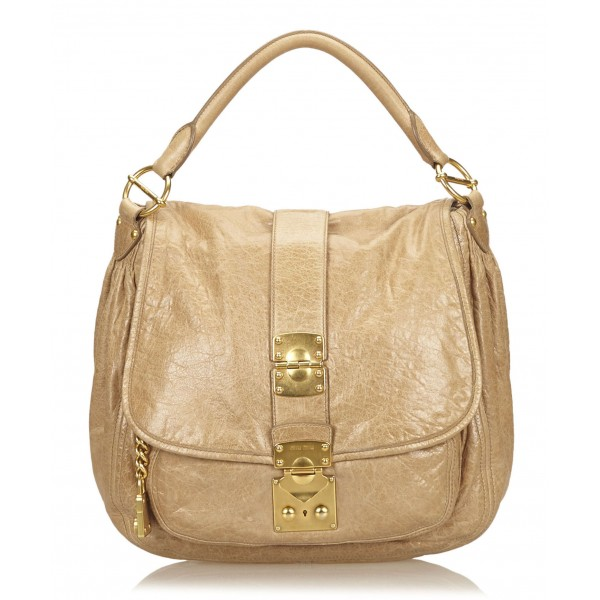 Miu Miu Vintage - Leather Shoulder Bag - Marrone Beige - Borsa in Pelle - Alta Qualità Luxury