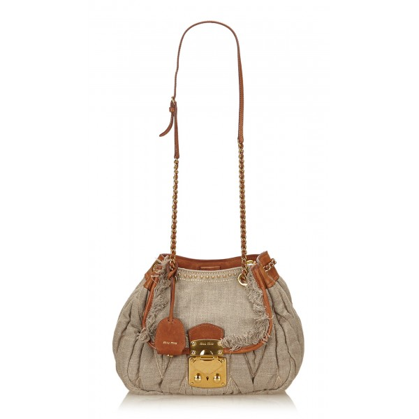 Miu Miu Vintage - Gathered Hemp Shoulder Bag - Brown Beige - Leather Handbag - Luxury High Quality
