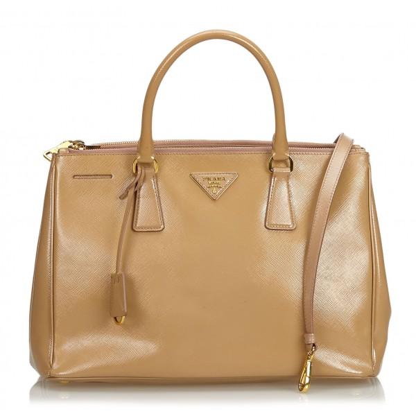 Prada Vintage - Leather Saffiano Galleria Handbag Bag - Marrone Beige - Borsa in Pelle - Alta Qualità Luxury