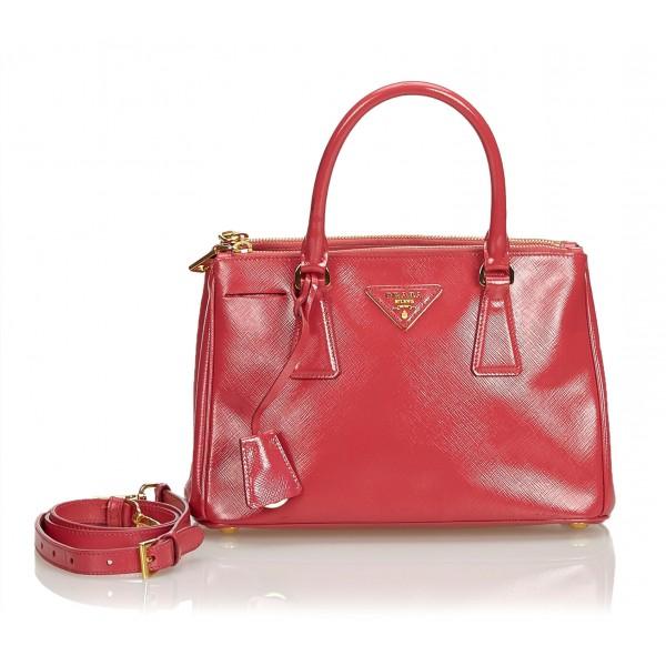 Prada Vintage - Saffiano Galleria Satchel Bag - Rossa - Borsa in Pelle - Alta Qualità Luxury