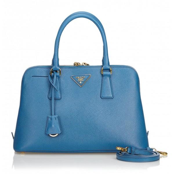 Prada Vintage - Saffiano Leather Lux Promenade Satchel Bag - Blu - Borsa in Pelle - Alta Qualità Luxury