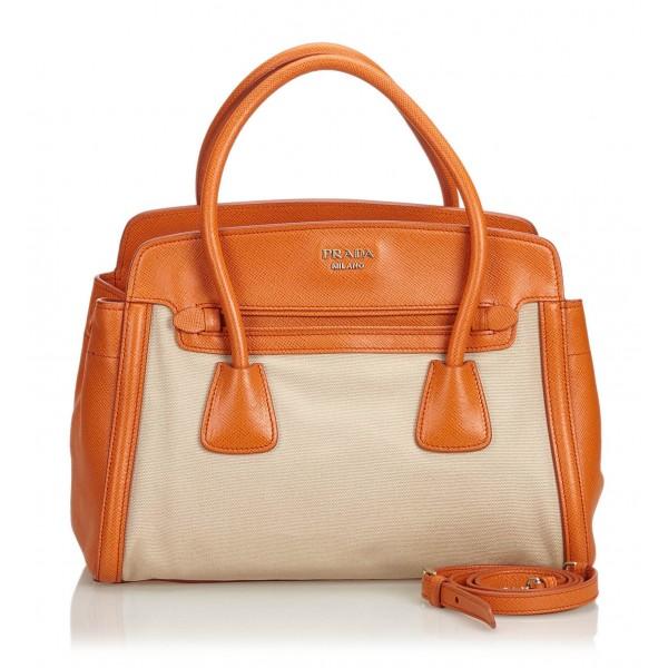 Prada Vintage - Canvas Satchel Bag - Marrone Beige - Borsa in Pelle - Alta Qualità Luxury