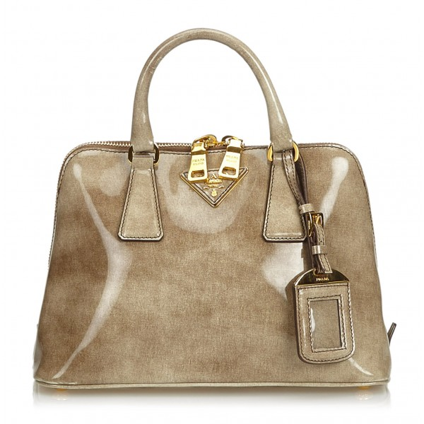 Prada Vintage - Patent Leather Lux Promenade Handbag Bag - Brown Beige - Leather Handbag - Luxury High Quality