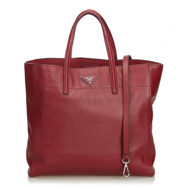 Prada Vintage - Saffiano Leather Soft Tote Bag - Red - Leather Handbag - Luxury High Quality